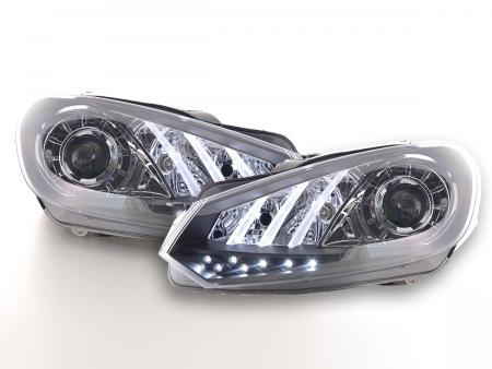 Scheinwerfer Set Daylight LED TFL-Optik VW Golf 6 Bj. 08- schwarz