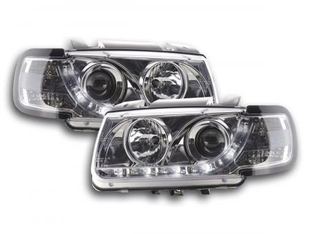 Scheinwerfer Set Daylight LED TFL-Optik VW Polo Typ 6N Bj. 94-99 chrom