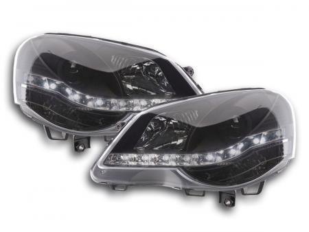 Scheinwerfer Set Daylight LED TFL-Optik VW Polo Typ 9N3 Bj. 05-09 schwarz