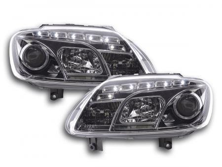 LED Tagfahrlicht Optik Scheinwerfer Set VW Touran 1T VW Caddy 2K chrom