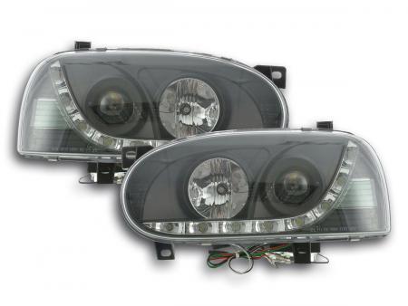 Scheinwerfer Set Daylight LED Tagfahrlicht VW Golf 3 Bj. 91-97 schwarz