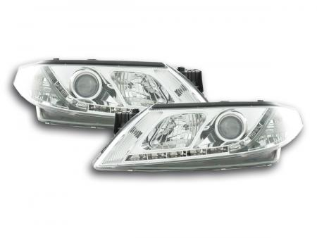 Scheinwerfer Set Daylight LED TFL-Optik Renault Laguna (Typ G) Bj. 01-05 chrom