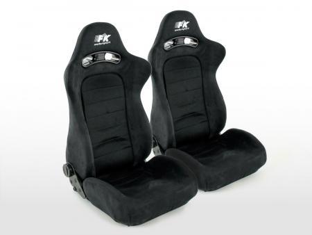 siège baquet modèle Chicago (1xgauche+1xdroite) noir/noir noir