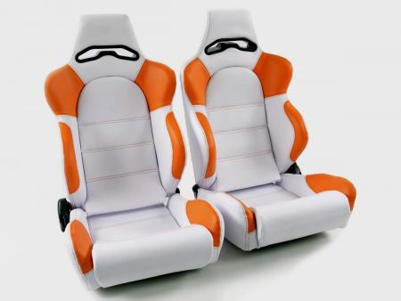 Palette 3x FK Sportsitze Auto Halbschalensitze Set Edition 1 Kunstleder weiß/orange