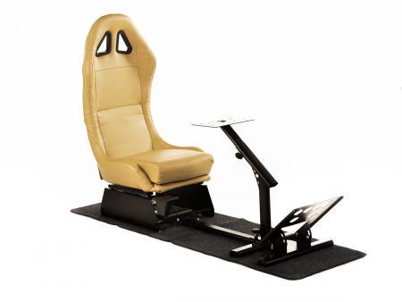 FK Gamesitz Spielsitz Rennsimulator eGaming Seats Suzuka beige mit Teppich