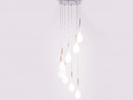 Pendelleuchte Deckenleuchte Laval mit Milchglas-Elementen, Silber/Weiß