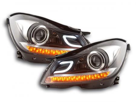 Scheinwerfer Set Daylight LED TFL-Optik Mercedes C-Klasse (204) Bj. 2011-2014 schwarz