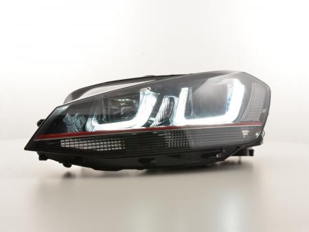Scheinwerfer Set Daylight LED Tagfahrlicht VW Golf 7 Bj. ab 2012 schwarz/rot