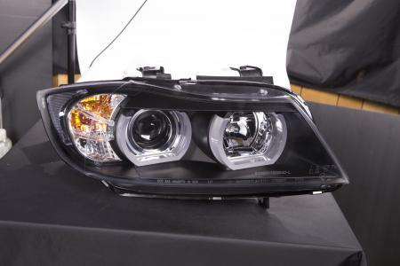 Scheinwerfer Xenon Daylight LED TFL-Optik  BMW 3er E90/E91 Limo/Touring Bj. 05-08 schwarz