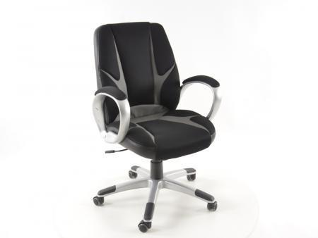 Tuning shop chaise de bureau filet noir gris avec accoudoirs