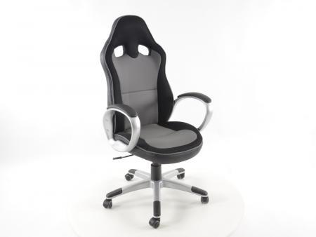 Tuning shop chaise de bureau simili cuir filet gris noir avec