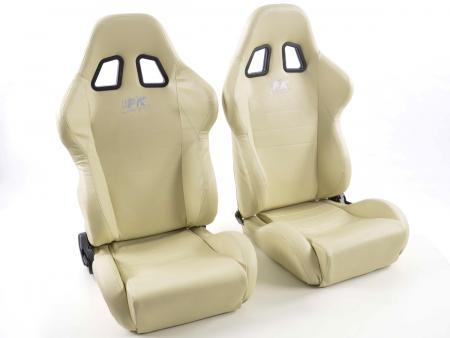 palette 3x siège baquet (gauche+droite), similicuir beige, cous. blanc