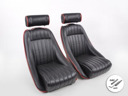 Sportseat Set Classic 2 artificial leather black with headrest black incl. rails