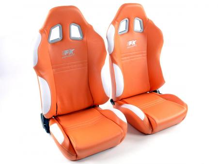FK Sportsitze Auto Halbschalensitze Set New York orange/weiß in Motorsport-Optik