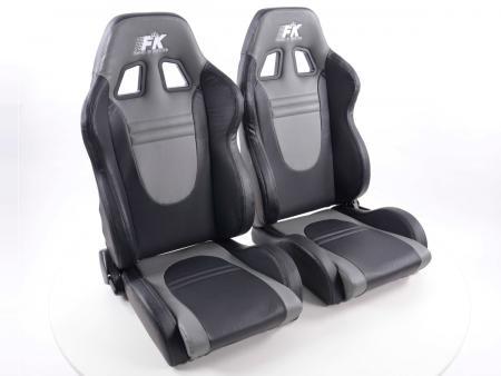 FK Sportsitze Auto Halbschalensitze Set Racecar Kunstleder schwarz/grau