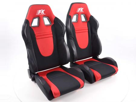 Sportsitz Set Racecar Stoff schwarz/rot