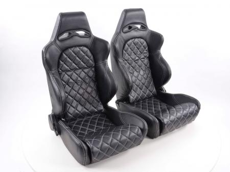 Sportseat Set Las Vegas artificial leather black seam white