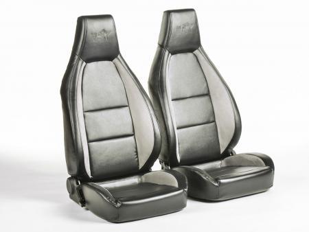 4806e0a10508ba FK sport seats half bucket seats Set Hamburg artificial leather black grey