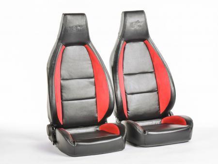 FK sport seats half bucket seats Set Hamburg artificial leather black/red
