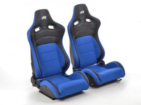 FK sedili sportivi sedili di due pezzi Set Köln in pelle artificiale/Stoff nero/blu