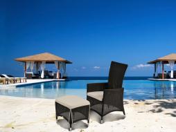 Stuhl und Beinauflage Cayman 2er Set Verstellbare Rückenlehne, dunkelbraun
