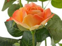 Kunstrose mit 3 Blüten und 3 Knospen orange