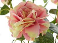 Kunstrose mit 3 Blüten und 3 Knospen rose