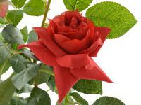 Kunstrose mit 2 Blüten und 1 Knospe rot
