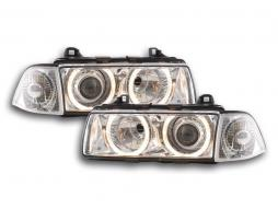 Scheinwerfer Set Xenon Angel Eyes BMW 3er Coupe Typ E36 Bj. 92-98 chrom