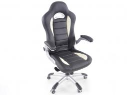 Office Chair synthetic leather black/white with adjustable armrests
