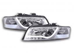 Scheinwerfer Set Daylight LED TFL-Optik Audi A4 Typ 8E Bj. 01-04 chrom für Rechtslenker