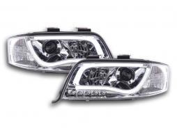 Scheinwerfer Set Daylight LED TFL-Optik Audi A6 Typ 4B Bj. 01-04 chrom