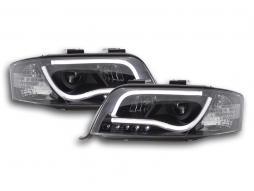 Scheinwerfer Set Daylight LED TFL-Optik Audi A6 Typ 4B Bj. 01-04 schwarz für Rechtslenker