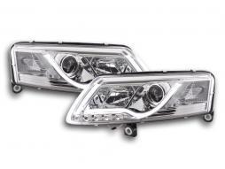 Scheinwerfer Set Daylight LED TFL-Optik Audi A6 Typ 4F Bj. 04-08 chrom für Rechtslenker