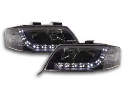 Scheinwerfer Set Daylight LED TFL-Optik Audi A6 Typ 4B Bj. 97-01 schwarz