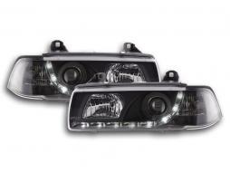 Scheinwerfer Set Daylight LED Tagfahrlicht BMW 3er E36 Limousine Bj. 92-98 schwarz