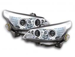 Scheinwerfer Angel Eyes LED Xenon BMW 5er E60/E61 Bj. 03-04 chrom für Rechtslenker