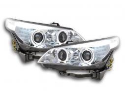 Scheinwerfer Set Xenon Angel Eyes LED BMW 5er E60/E61 Bj. 03-04 chrom