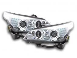 Scheinwerfer Set gebraucht Xenon Angel Eyes LED BMW 5er E60/E61 Bj. 05-08 chrom für Rechtslenker