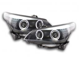 Scheinwerfer Set Xenon Angel Eyes LED BMW 5er E60/E61 Bj. 05-08 schwarz für Rechtslenker