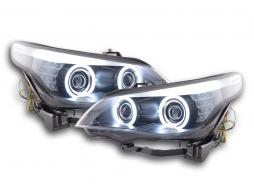 Scheinwerfer Set Xenon Angel Eyes CCFL BMW 5er E60/E61 Bj. 05-08 schwarz