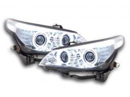 Scheinwerfer Set Xenon Angel Eyes CCFL BMW 5er E60/E61 Bj. 03-04 chrom