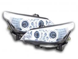 Scheinwerfer Set Xenon Angel Eyes CCFL BMW 5er E60/E61 Bj. 03-04 chrom für Rechtslenker