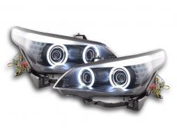Scheinwerfer Set Xenon Angel Eyes CCFL BMW 5er E60/E61 Bj. 03-04 schwarz für Rechtslenker