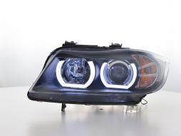 headlights Daylight LED DRL look BMW series 3 E90/E91 Yr. 05-08 black