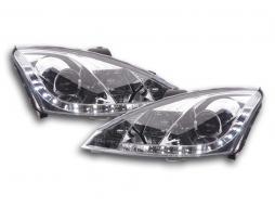 Scheinwerfer Set Daylight LED TFL-Optik Ford Focus 3/4/5-trg. Bj. 01-04 chrom