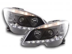 Scheinwerfer Daylight Mercedes C-Klasse W204 Bj. 07-10 schwarz
