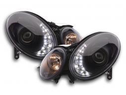 Scheinwerfer Set Daylight LED TFL-Optik Mercedes E-Klasse Typ W211 Bj. 06-08 schwarz