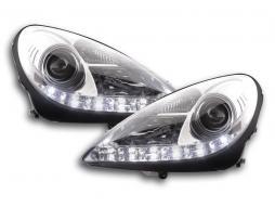 Scheinwerfer Set Daylight LED TFL-Optik Mercedes SLK R171 Bj. 04-11 chrom