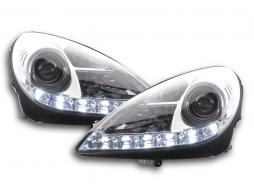Scheinwerfer Set Xenon Daylight LED Tagfahrlicht Mercedes SLK R171 chrom